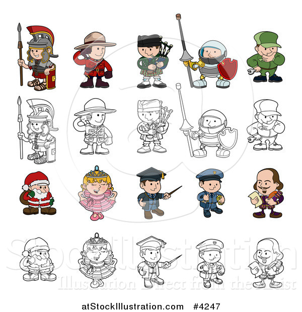 Vector Illustration of Outlined and Colored Children in Costumes