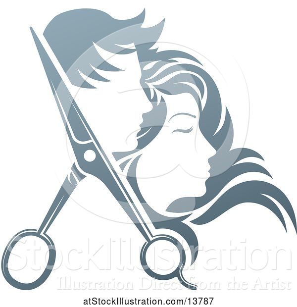 Vector Illustration of Pair of Hair Cutting Scissors with Profiled Male and Female Heads