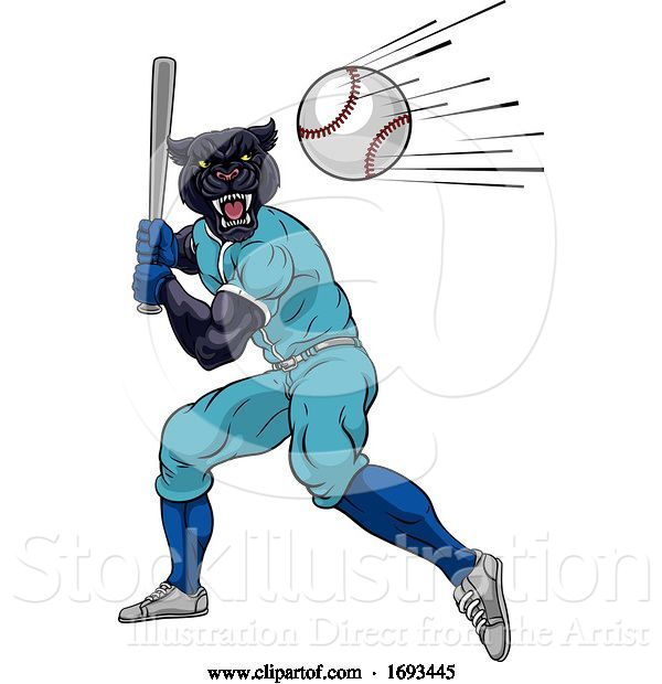 Vector Illustration of Panther Baseball Player Mascot Swinging Bat