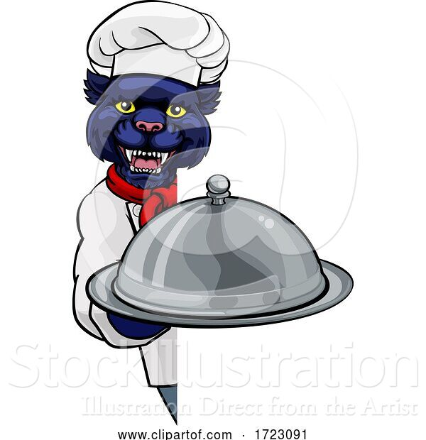 Vector Illustration of Panther Chef Mascot Sign Character