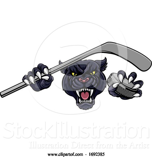 Vector Illustration of Panther Ice Hockey Player Animal Sports Mascot
