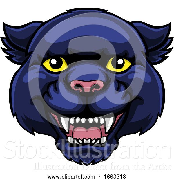 Vector Illustration of Panther Mascot Cute Happy Character