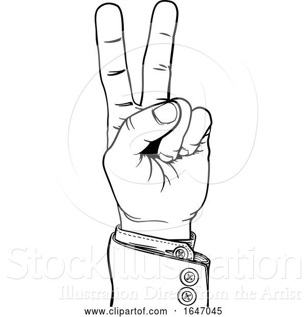 Vector Illustration of Peace Victory Hand Business Suit Two Finger Sign