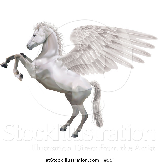 Vector Illustration of Pegasus, Rearing up on Its Hind Legs