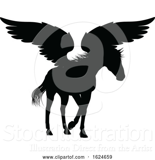Vector Illustration of Pegasus Silhouette Mythological Winged Horse