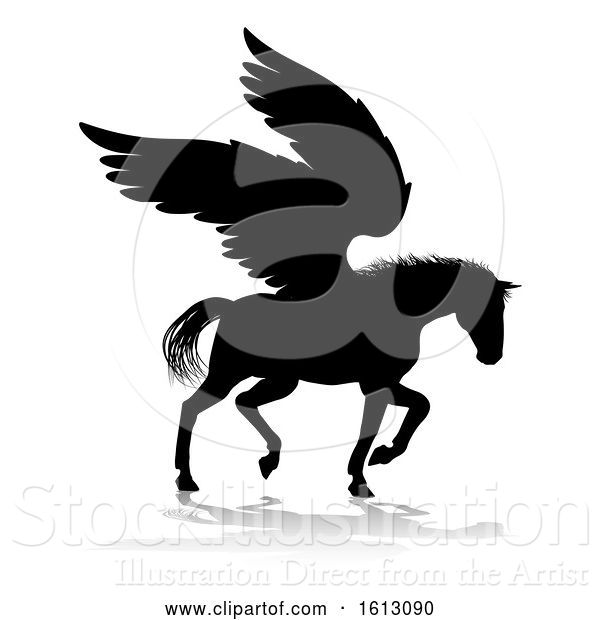 Vector Illustration of Pegasus Silhouette Mythological Winged Horse, on a White Background