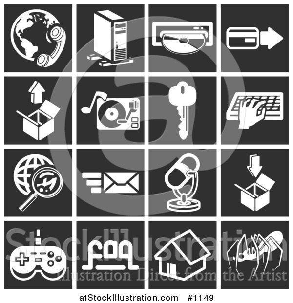 Vector Illustration of Phone and Globe, Computer Tower, Cd, Credit Card, Box, Record Player, Key, Person Typing, Magnifying Glass and Globe, Email, Microphone, Video Game Controller, House Spider - Flat White Icons over Black Squares