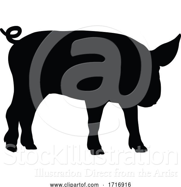 Vector Illustration of Pig Silhouette Farm Animal