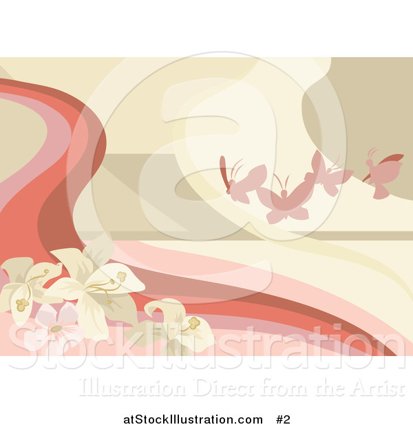 Vector Illustration of Pink Butterflies with Flowers Background