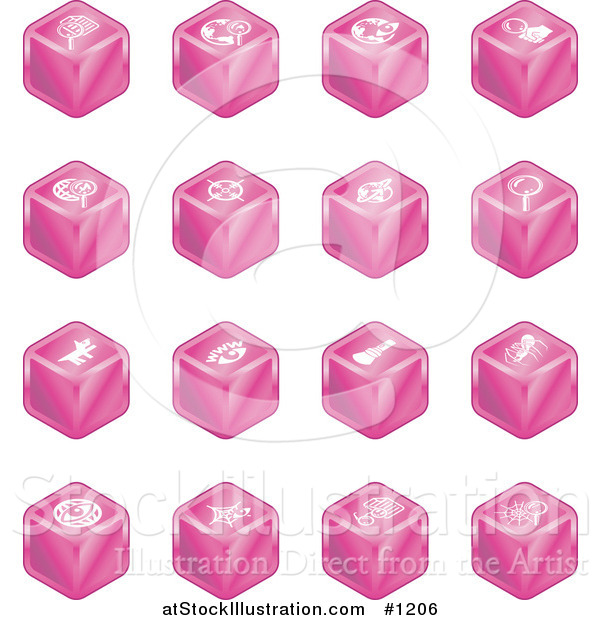 Vector Illustration of Pink Cube Icons: Searches, View Finders, Www, Magnifying Glasses, Dogs, Flashlight, and Spider