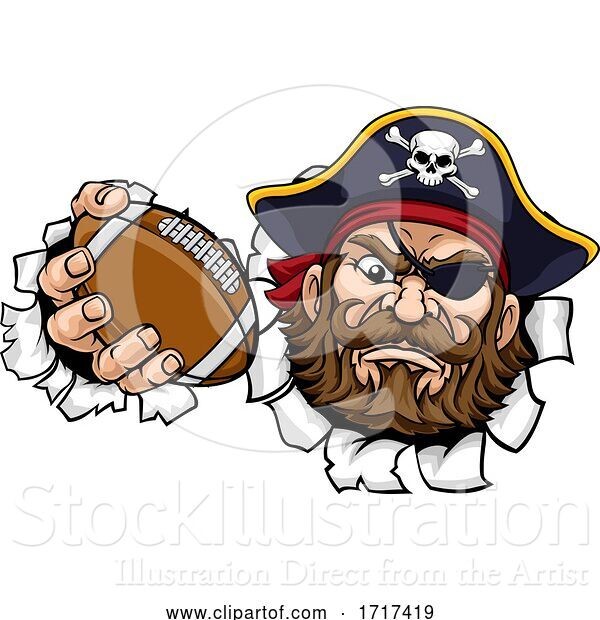 Vector Illustration of Pirate American Football Sports Mascot