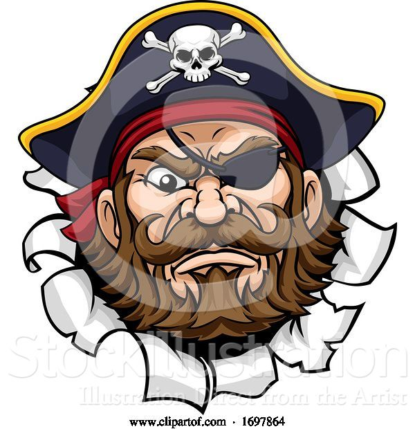 Vector Illustration of Pirate Captain Mascot Tearing Background
