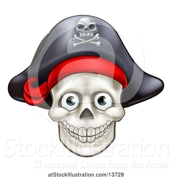 Vector Illustration of Pirate Skull Wearing a Hat