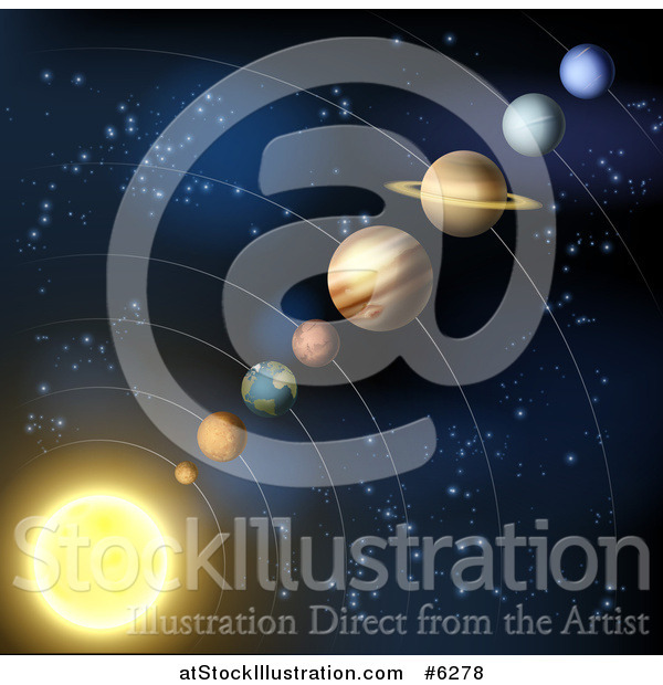 Vector Illustration of Planets of the Solar System and Stars of Outer Space