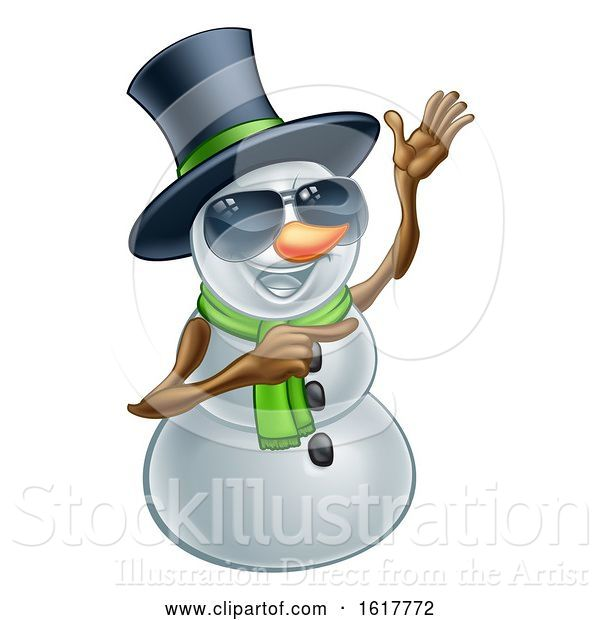 Vector Illustration of Pointing Snowman Wearing a Top Hat and Sunglasses