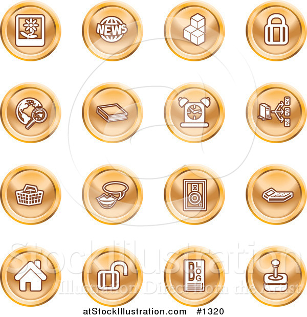 Vector Illustration of Polaroid, News, Cubes, Padlock, Www, Search, Book, Alarm Clock, Connectivity, Messenger, Speaker, Calculator, Home, Blog and Joystick