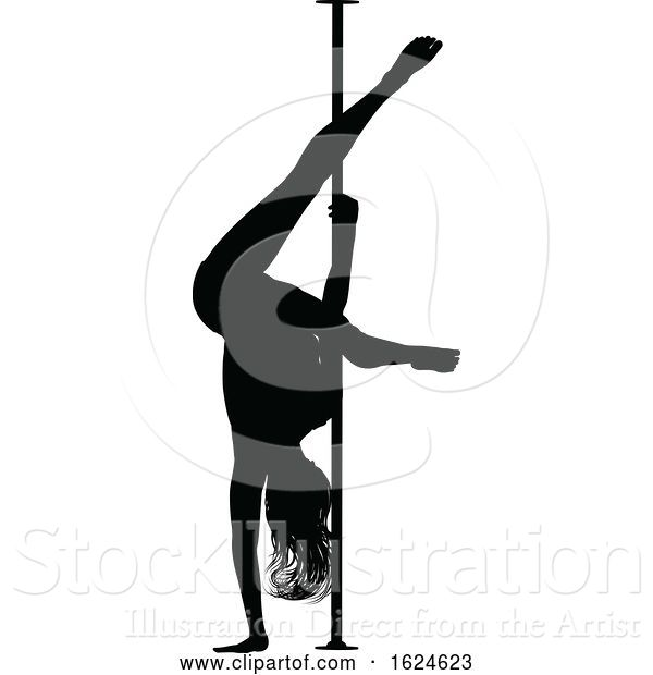 Vector Illustration of Pole Dancer Lady Silhouette