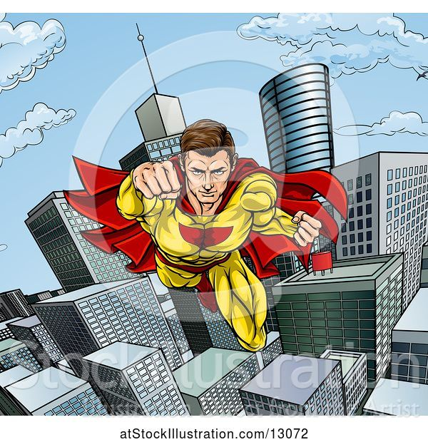 Vector Illustration of Pop Art Comic Male Super Hero Flying Forward over a City