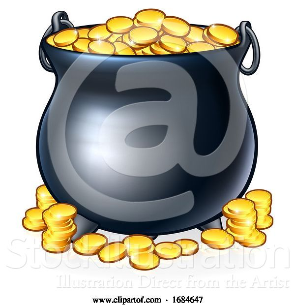 Vector Illustration of Pot of Gold Coins at End of the Rainbow