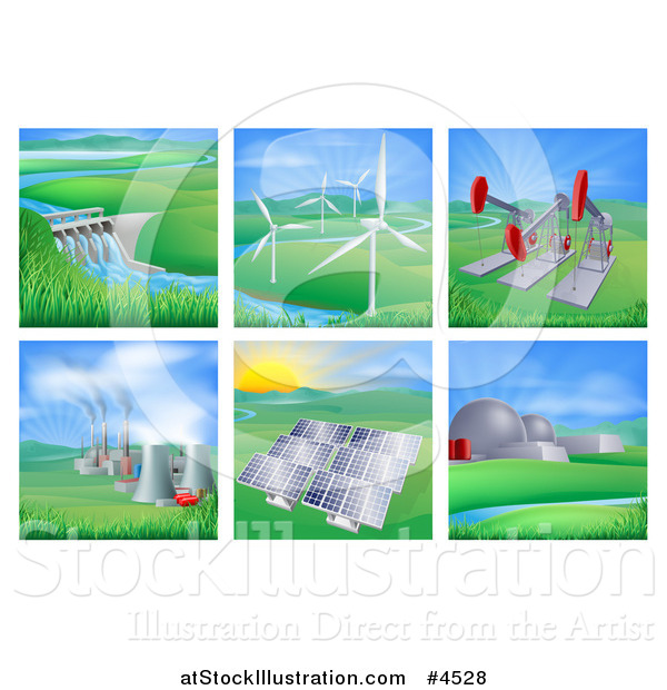 Vector Illustration of Power and Energy Generation Plants and Landscapes