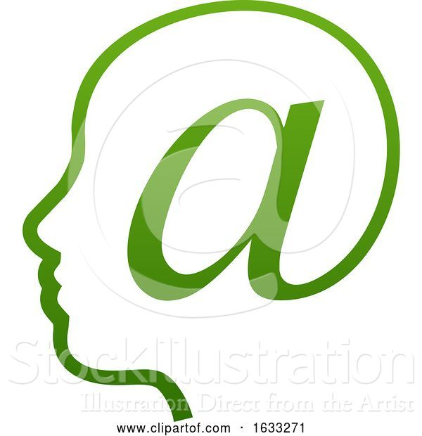 Vector Illustration of Profiled Face in an Email Arobase at Symbol