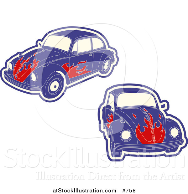 Vector Illustration of Purple VW Bug Cars with Flames