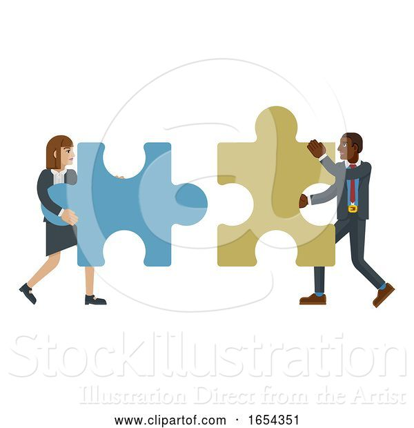 Vector Illustration of Puzzle Piece Jigsaw Characters Business Concept