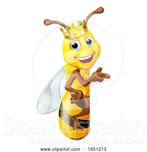 Vector Illustration of Queen Honey Bumble Bee Bumblebee in Crown