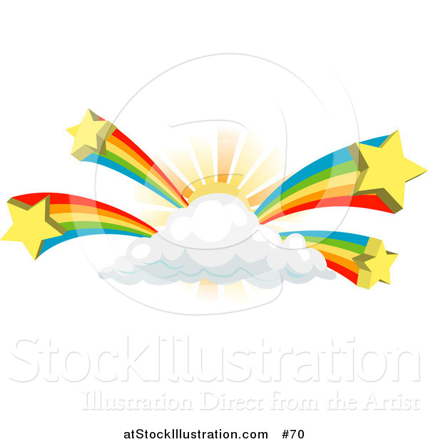 Vector Illustration of Rainbows Bursting from a Sun Behind a Cloud