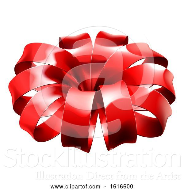 Vector Illustration of Red Christmas Bow