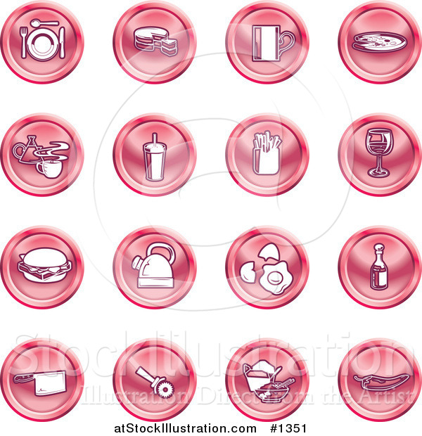 Vector Illustration of Red Icons: Food and Kitchen Items on a White Background