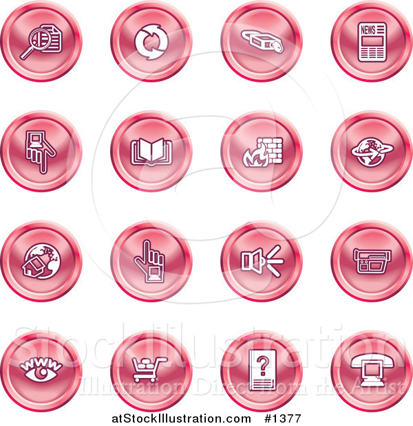 Vector Illustration of Red Icons: Security Symbols on a White Background