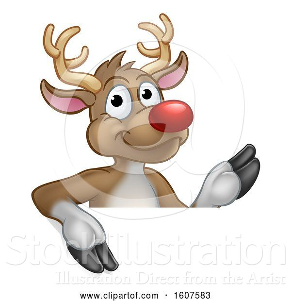 Vector Illustration of Red Nosed Christmas Reindeer over a Sign