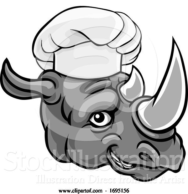 Vector Illustration of Rhino Chef Mascot Character