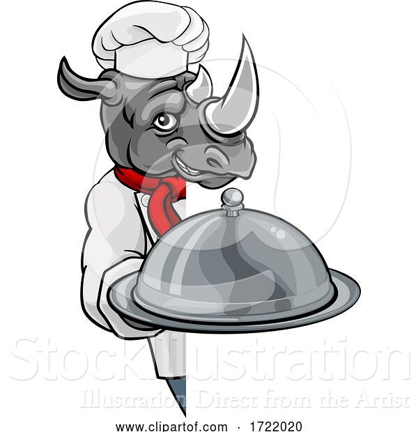 Vector Illustration of Rhino Chef Mascot Sign Character
