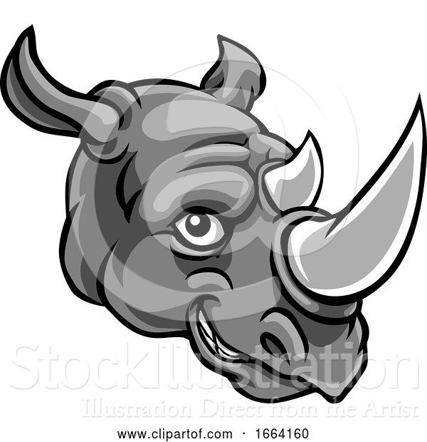 Vector Illustration of Rhino Mascot Cute Happy Character