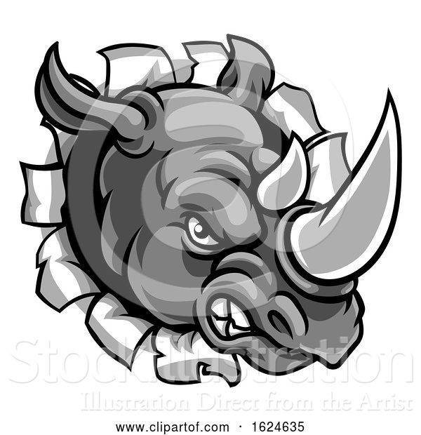 Vector Illustration of Rhino Mean Angry Sports Mascot Breaking Background