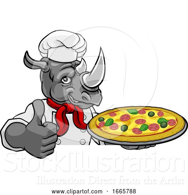 Vector Illustration of Rhino Pizza Chef Restaurant Mascot Sign