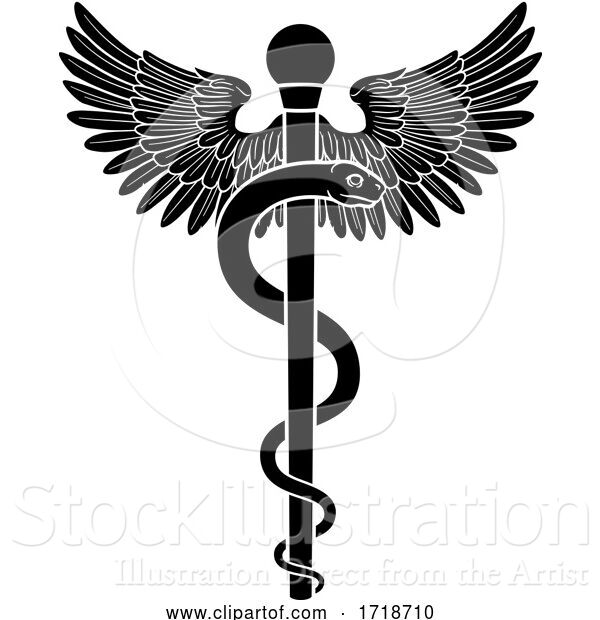 Vector Illustration of Rod of Asclepius Aesculapius Medical Symbol