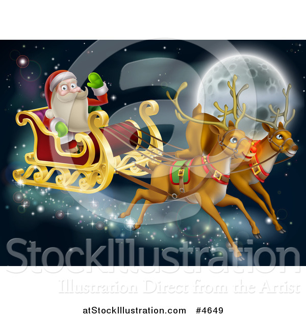 Vector Illustration of Rudolph and Another Reindeer Leading Santas Christmas Sleigh over a Full Moon