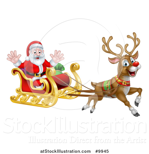Vector Illustration of Rudolph the Red Nosed Reindeer Flying Santa in a Sleigh