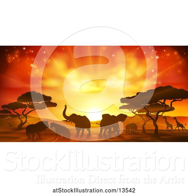Vector Illustration of Safari Scene of Silhouetted African Animals, Giraffes, Rhinos, Elephants and Lions, Under Acacia Trees at Sunset