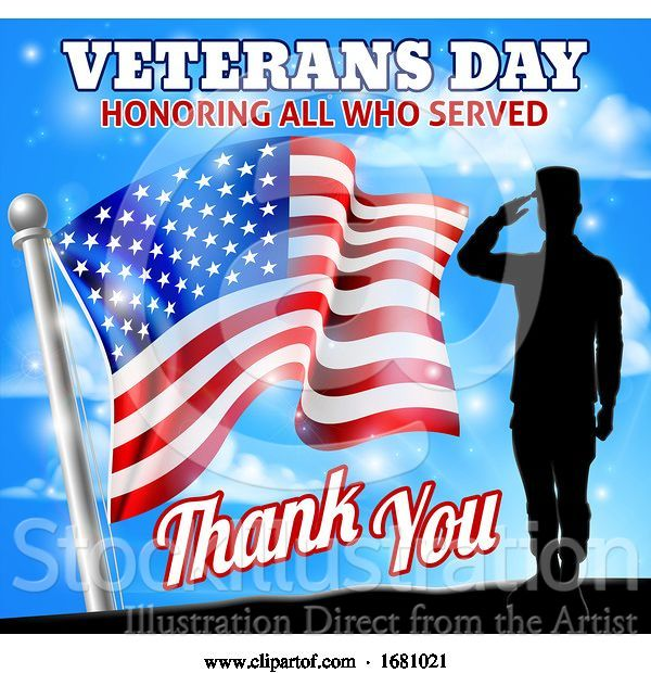 Vector Illustration of Saluting Soldier Veterans Day American Flag