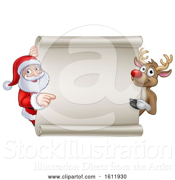 Vector Illustration of Santa and Reindeer Christmas Sign