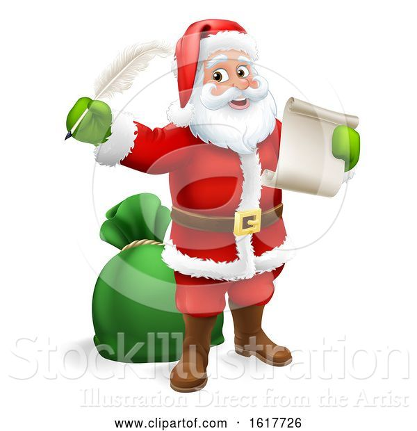 Vector Illustration of Santa Claus Checking Christmas Gift List