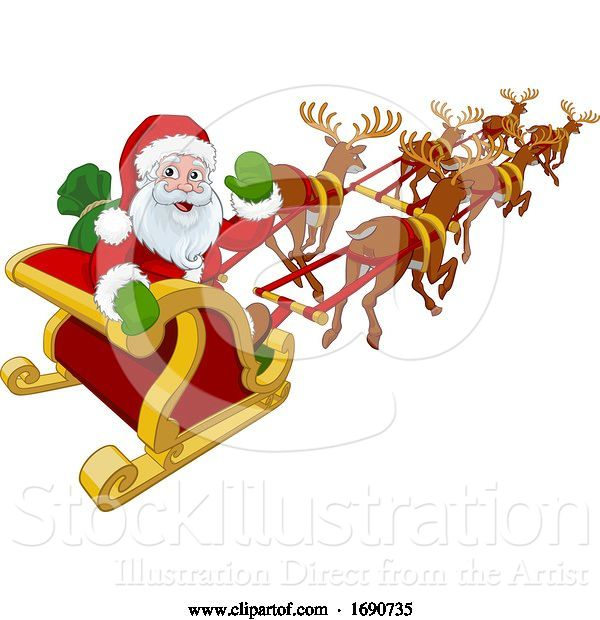 Vector Illustration of Santa Claus Flying Christmas Sleigh and Reindeer