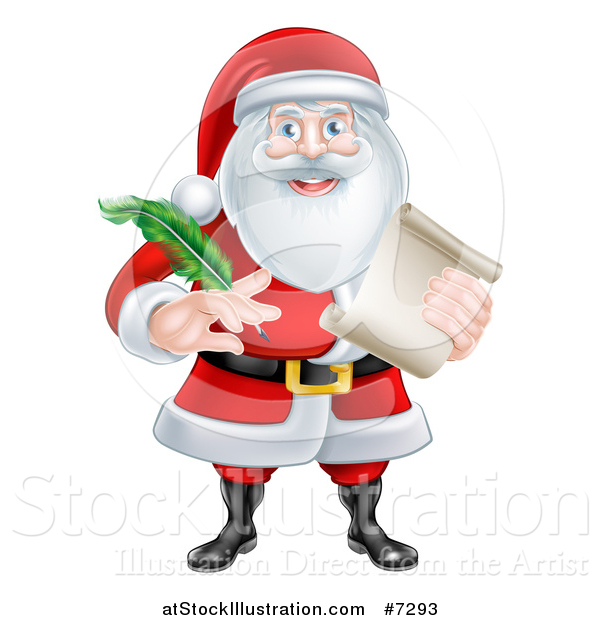 Vector Illustration of Santa Claus Holding a Feather Pen and Scroll List