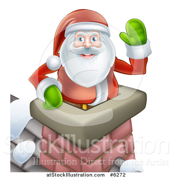 Vector Illustration of Santa Claus in a Roof Top Chimney, Smiling and Waving on Christmas Eve