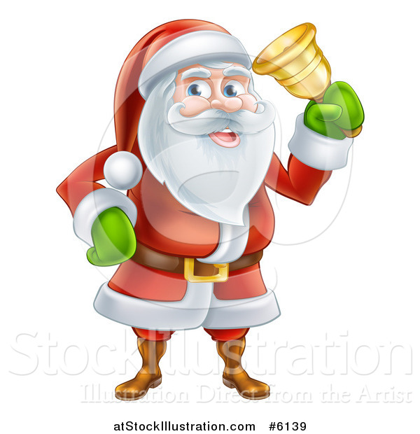 Vector Illustration of Santa Claus Ringing a Christmas Charity Bell