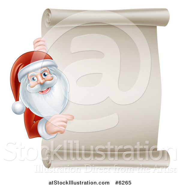 Vector Illustration of Santa Claus Smiling and Pointing Around a Blank Scroll Christmas Sign
